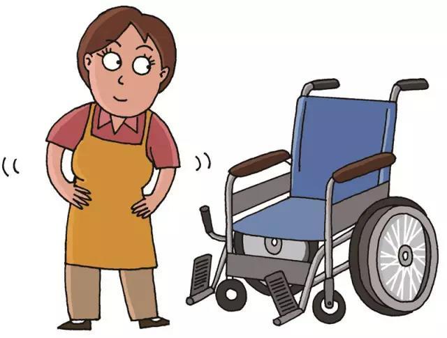 失能老人的轮椅援助  *注意点  半身麻痹的患者如果坐姿倾斜的话,有